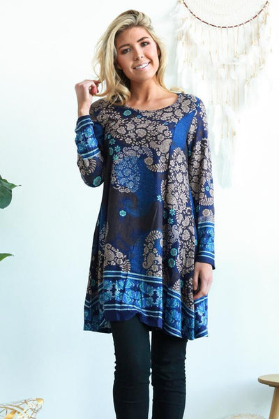 Blue Sophie Long Sleeve Winter Tunic Dress