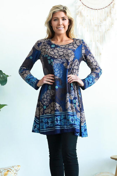 Blue Sophie Long Sleeve Winter Tunic Dress | I Love Tunics | Tunic Tops | Tunic Dresses | Women's Tops | Plus Size Australia | Mature Fashion