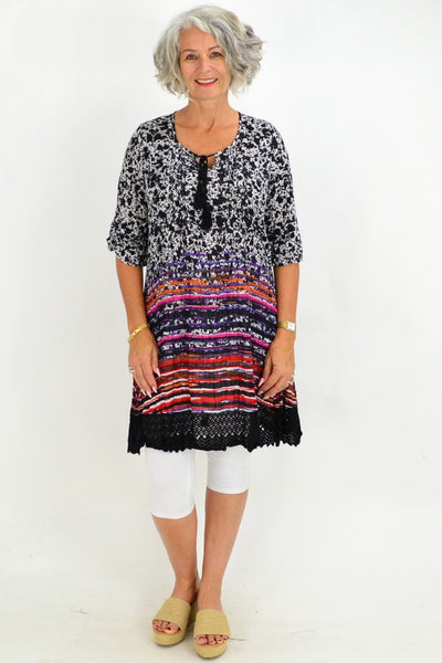 Black Lace Stripe Tunic Dress