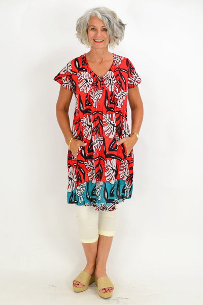 Coral Aqua Palm Leaves Tunic Top