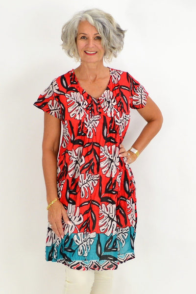 Coral Aqua Palm Leaves Tunic Top | I Love Tunics | Tunic Tops | Tunic | Tunic Dresses  | womens clothing online