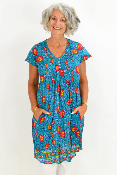 Aqua Coral Floral Tunic Top | I Love Tunics | Tunic Tops | Tunic | Tunic Dresses  | womens clothing online