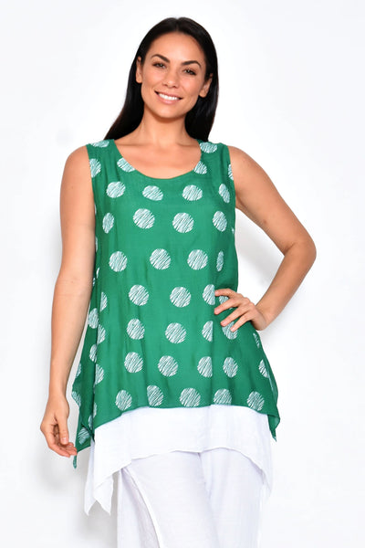 Green Calico Summer Cotton Top