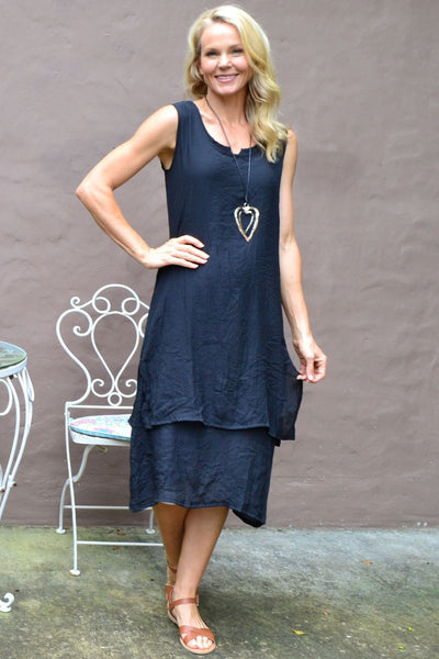 Navy V Sleeveless Layered Tunic Dress | I Love Tunics | Tunic Tops | Tunic | Tunic Dresses  | womens clothing online