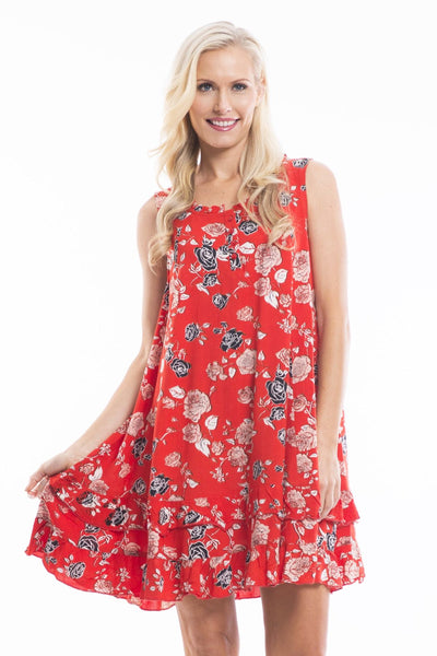 Red Maldives Floral Tunic Dress