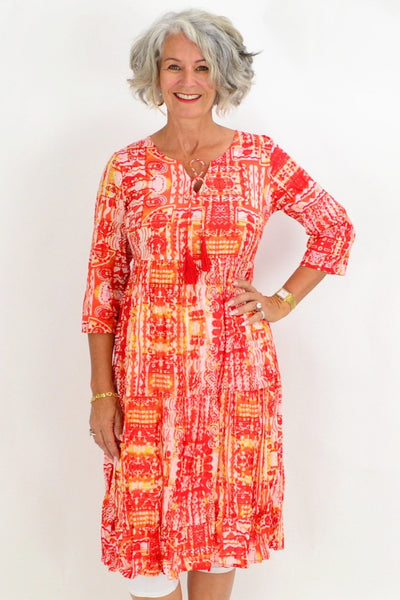 One Summer Orange Yellow Tunic Dress