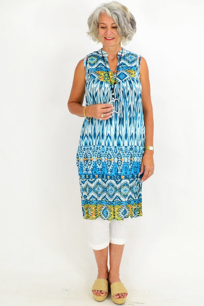 Ava Abstract Turquoise Tunic Dress