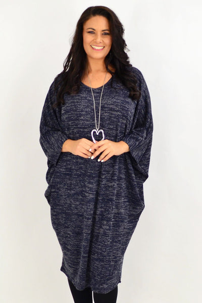 Navy Blue Textured Knit Tunic Dress | I Love Tunics | Tunic Tops | Tunic | Tunic Dresses  | womens clothing online