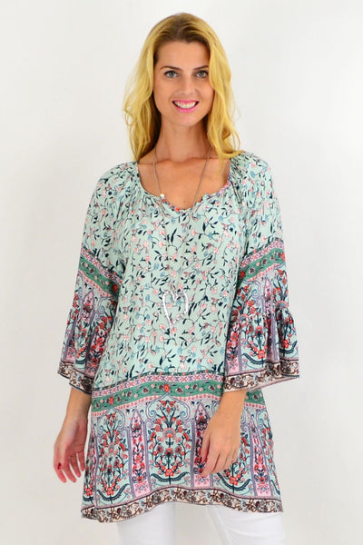 Green Small Flower Light & Pretty Tunic Top | I Love Tunics | Tunic Tops | Tunic | Tunic Dresses  | womens clothing online