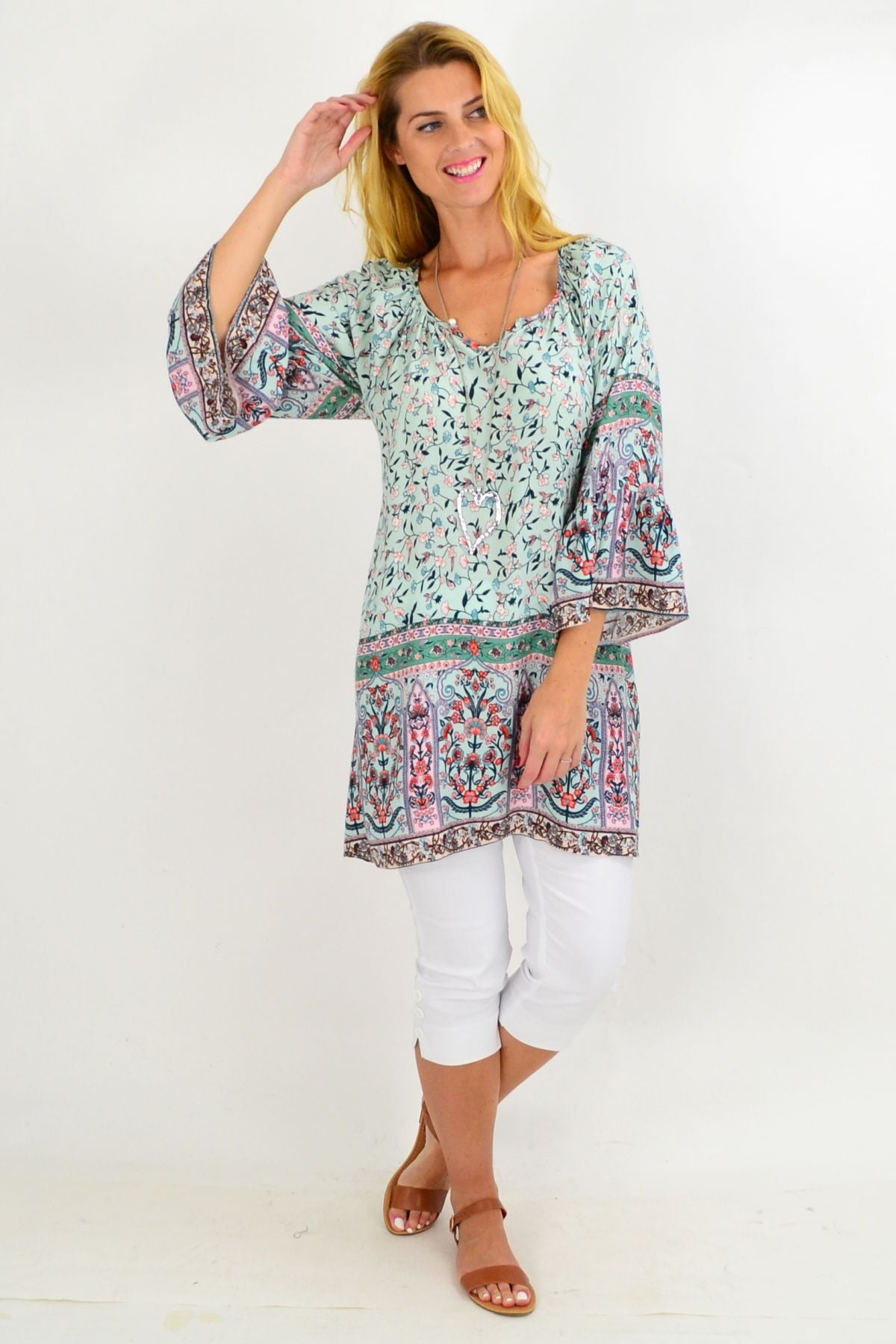 Green Small Flower Light & Pretty Tunic Top