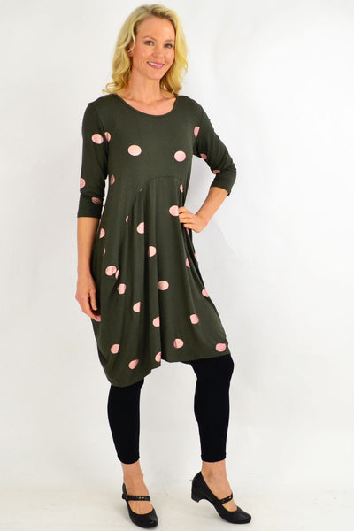 Khaki Spot Cocoon Tunic Dress