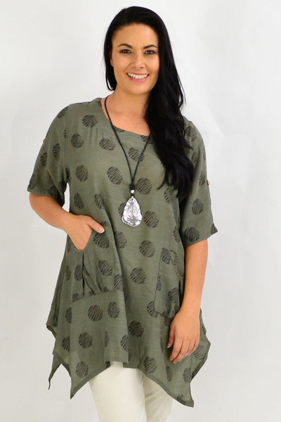 Khaki Black Dots Tunic Top | I Love Tunics | Tunic Tops | Tunic | Tunic Dresses  | womens clothing online