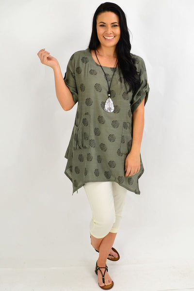 Khaki Black Dots Tunic Top