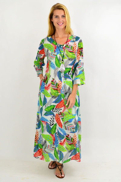 Green Leaf One Summer Maxi Tunic Dress