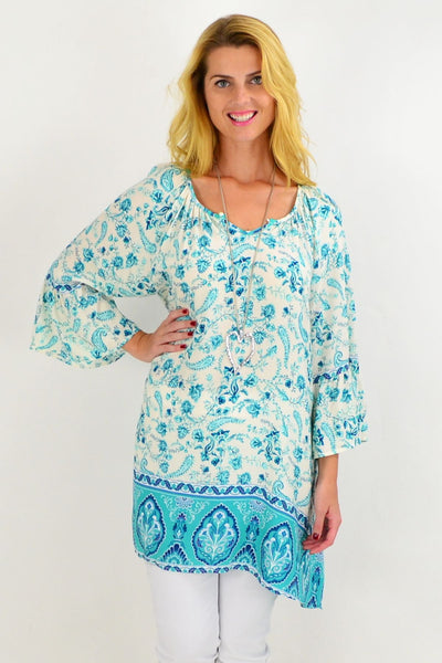 Turquoise Paisley Light & Pretty Tunic Top | I Love Tunics | Tunic Tops | Tunic | Tunic Dresses  | womens clothing online