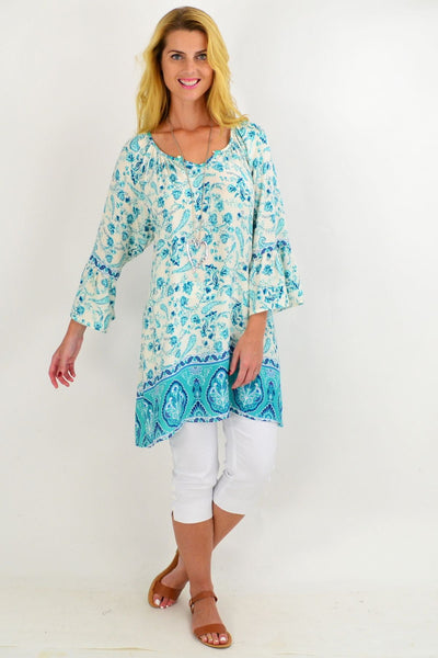 Turquoise Paisley Light & Pretty Tunic Top