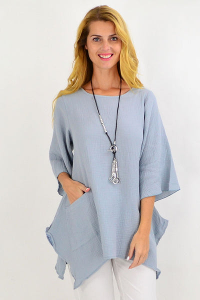 Light Grey Cotton Pocket Tunic Top | I Love Tunics | Tunic Tops | Tunic | Tunic Dresses  | womens clothing online