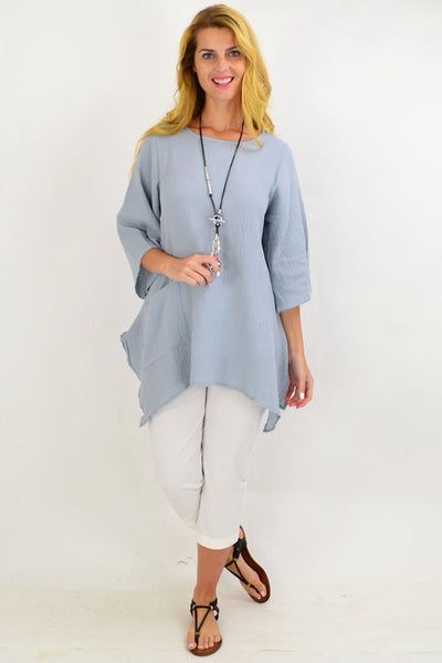 Light Grey Cotton Pocket Tunic Top