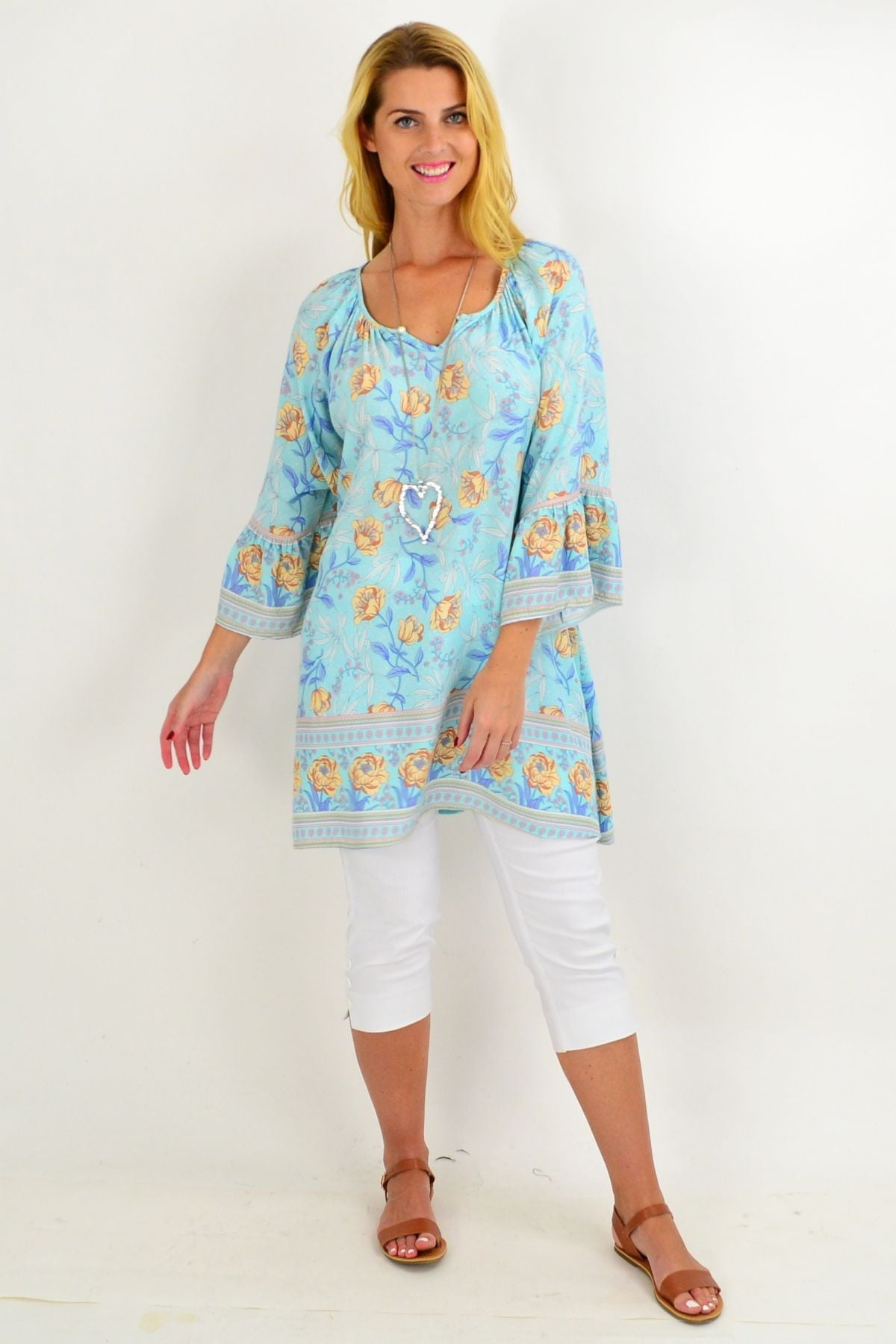 Light Blue Floral Light & Pretty Tunic Top | I Love Tunics | Tunic Tops | Tunic | Tunic Dresses  | womens clothing online