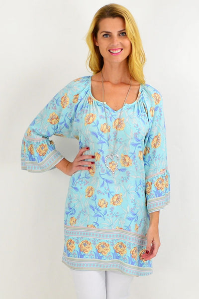 Light Blue Floral Light & Pretty Tunic Top