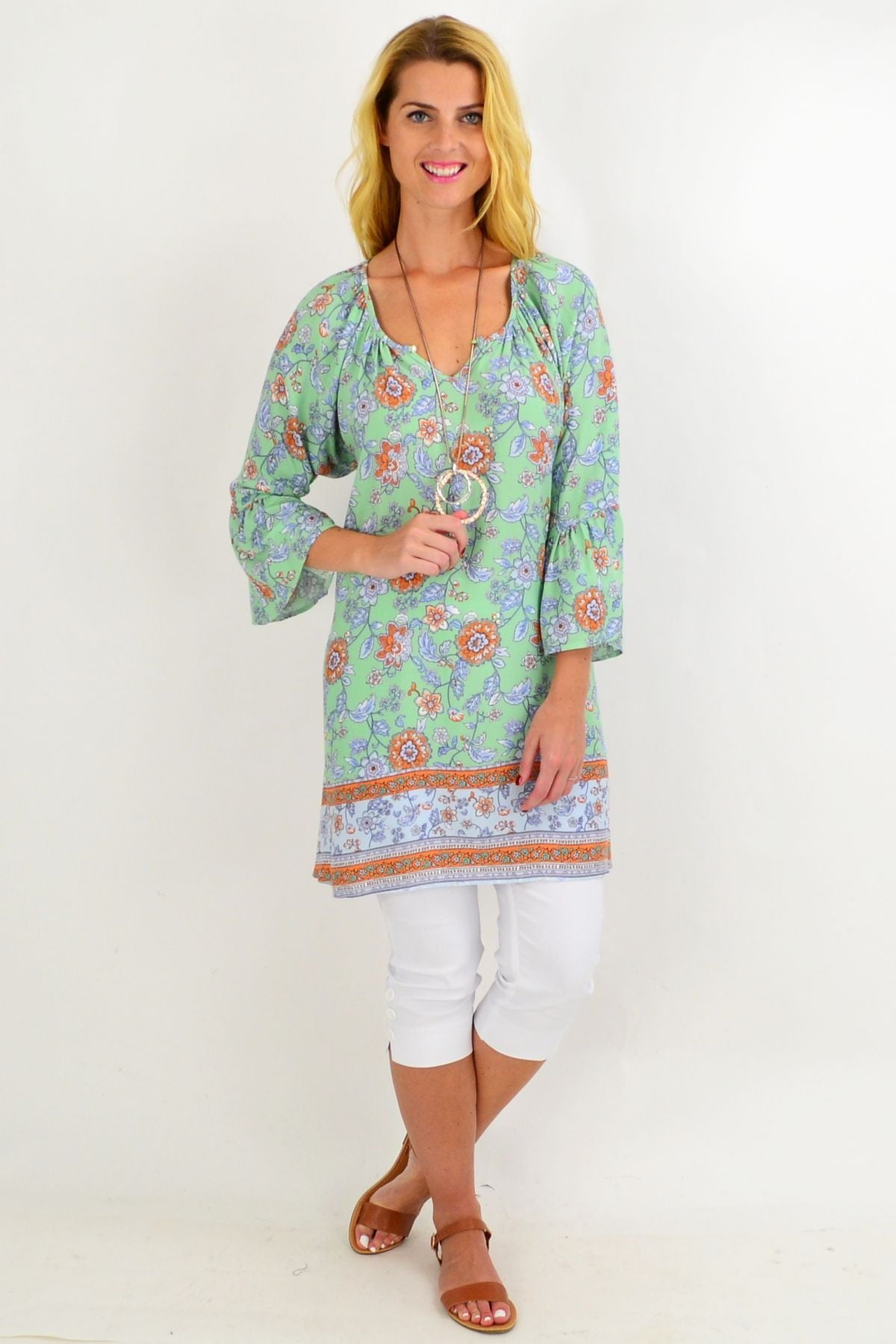 Light Green Floral Light & Pretty Tunic Top
