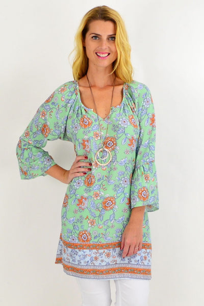 Light Green Floral Light & Pretty Tunic Top | I Love Tunics | Tunic Tops | Tunic | Tunic Dresses  | womens clothing online