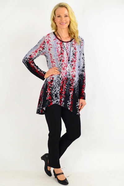 Red Weeping Willow Tunic Top