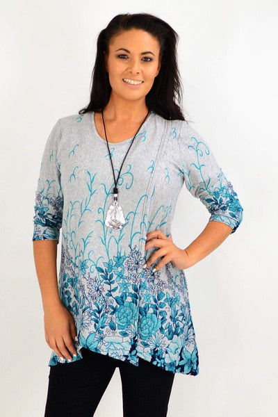 Blue Floral Ferguson Tunic Top | I Love Tunics | Tunic Tops | Tunic | Tunic Dresses  | womens clothing online