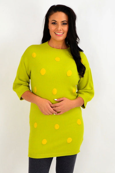 Lucy Lime Green Knit Tunic Jumper