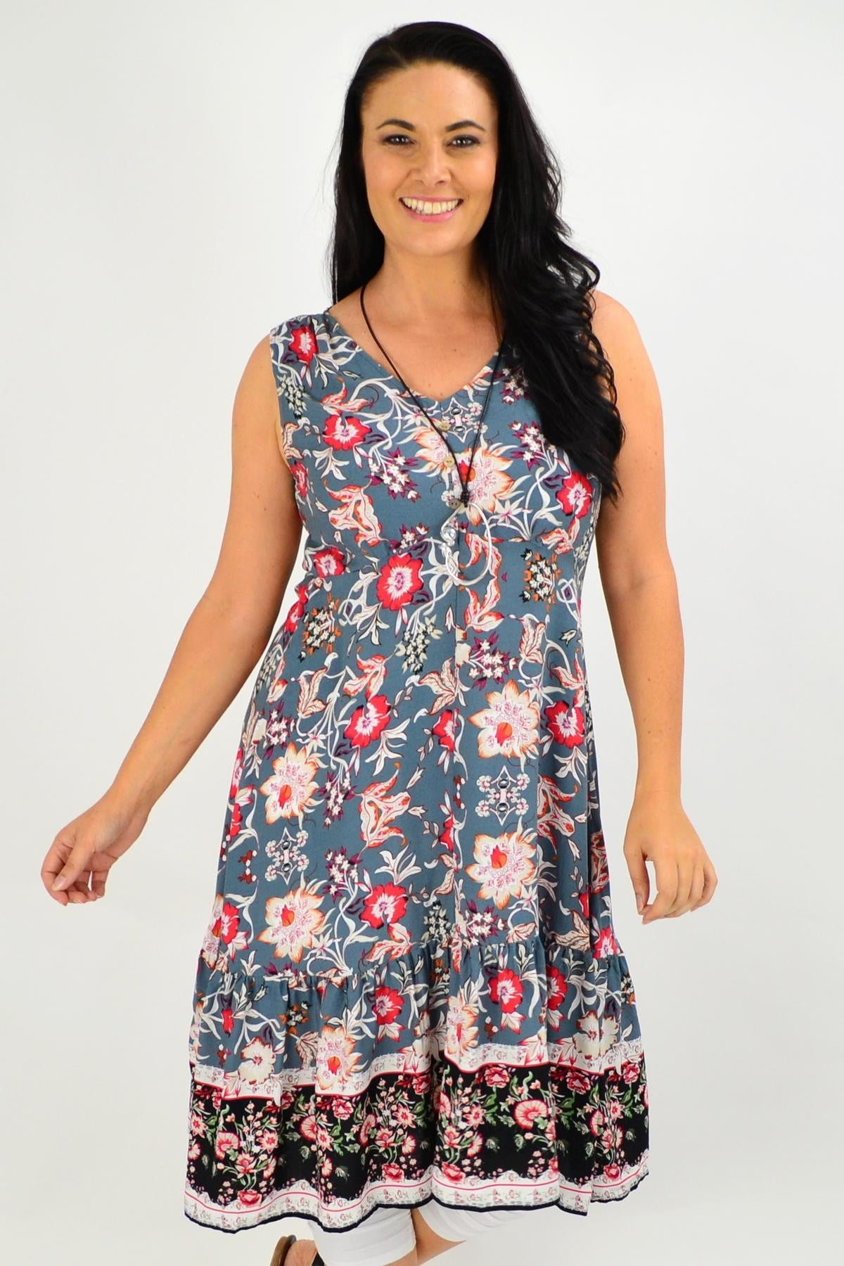 Grey Danielle Floral Tunic Dress | I Love Tunics | Tunic Tops | Tunic | Tunic Dresses  | womens clothing online