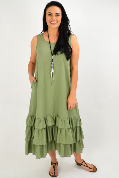 Khaki Ruffle Layer Tunic Maxi Dress