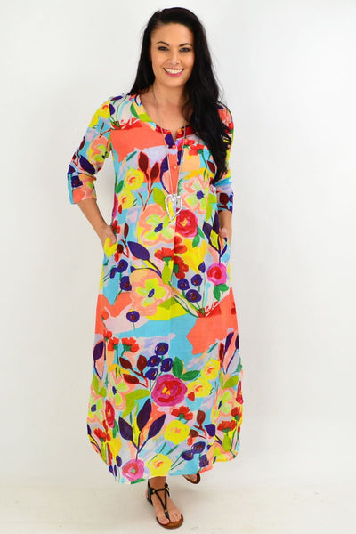 Apricot Flower One Summer Maxi Tunic Dress