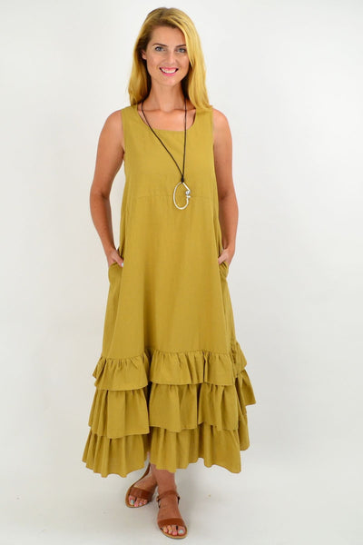 Mustard Ruffle Layer Tunic Maxi Dress