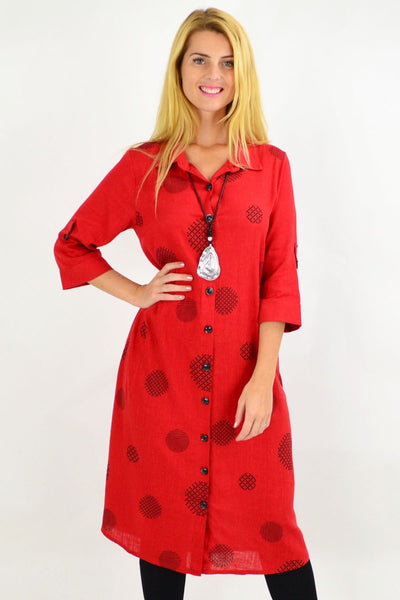 Brick Red Long Spot Shirt Dress