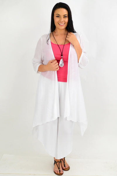 White Quarter Sleeve Easy Wear Summer Cardi | I Love Tunics | Tunic Tops | Tunic | Tunic Dresses  | womens clothing online