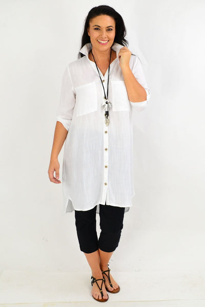White Square Button Tunic Shirt