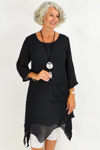 Black Nora Long Tunic Top