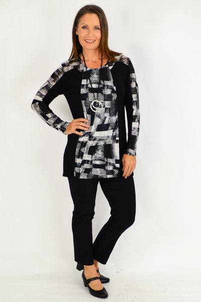 Maria Silver Black Tunic Top