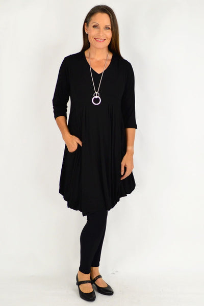 Black Myra Cocoon Tunic Dress