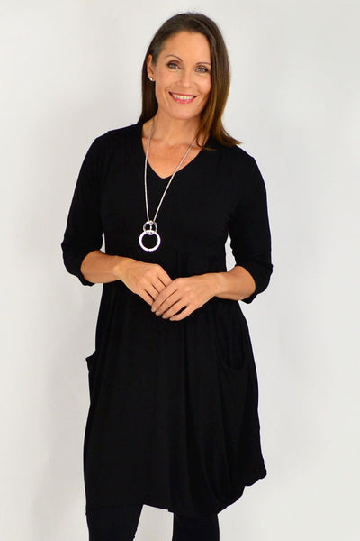 Black Myra Cocoon Tunic Dress | I Love Tunics | Tunic Tops | Tunic Dresses | Women's Tops | Plus Size Australia | Mature Fashion
