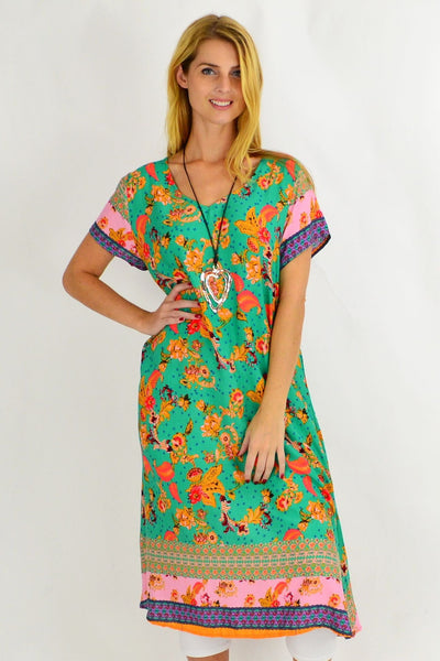 Long Green Pink Floral Tunic Dress | I Love Tunics | Tunic Tops | Tunic Dresses | Women's Tops | Plus Size Australia | Mature Fashion