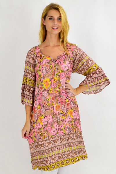 Patty Pink Floral Crinkle Tie Tunic Dress | I Love Tunics | Tunic Tops | Tunic | Tunic Dresses  | womens clothing online