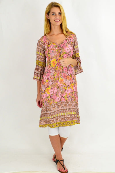 Patty Pink Floral Crinkle Tie Tunic Dress