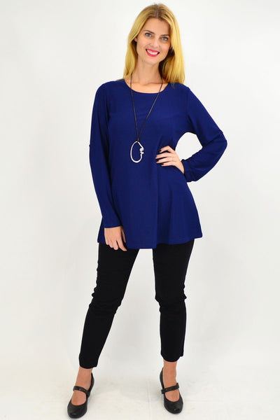 Navy Button Up Long Sleeve Basic Tunic