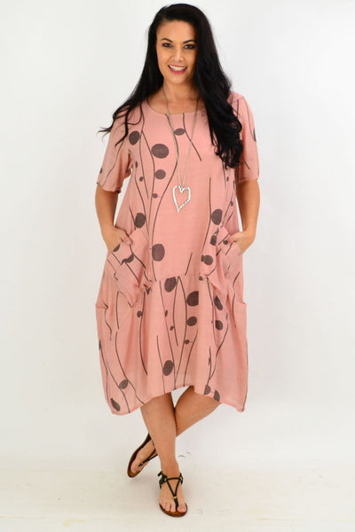 Dusty Pink Debs Dots Bubble Tunic Dress