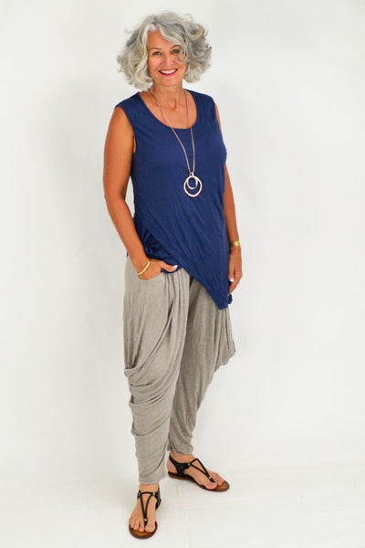 Julie Dark Blue Cotton Tunic Top