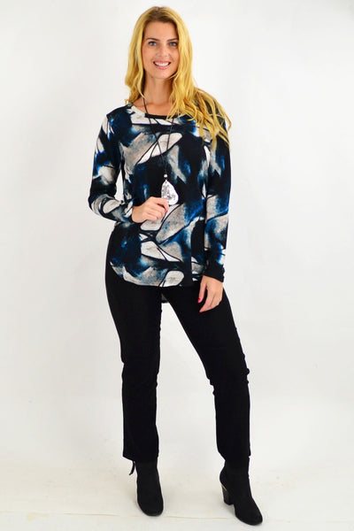 Pats Blue Pattern Tunic Top