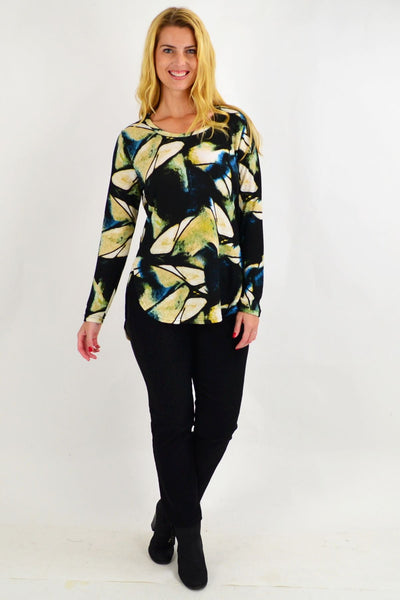 Pats Black Pattern Tunic Top