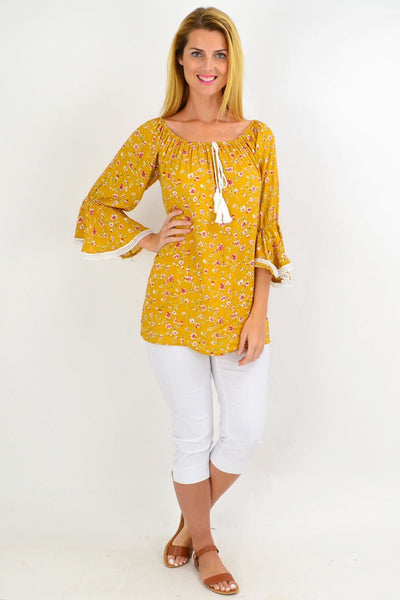 Mustard Floral Tassel Off shoulder Tunic Top