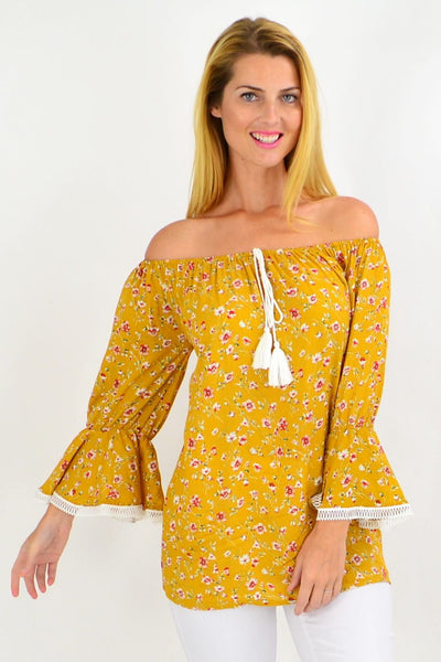 Mustard Floral Tassel Off shoulder Tunic Top | I Love Tunics | Tunic Tops | Tunic | Tunic Dresses  | womens clothing online